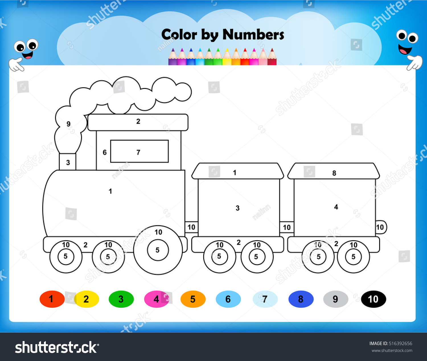 Worksheet Color By Numbers Train Worksheet Stock Vector