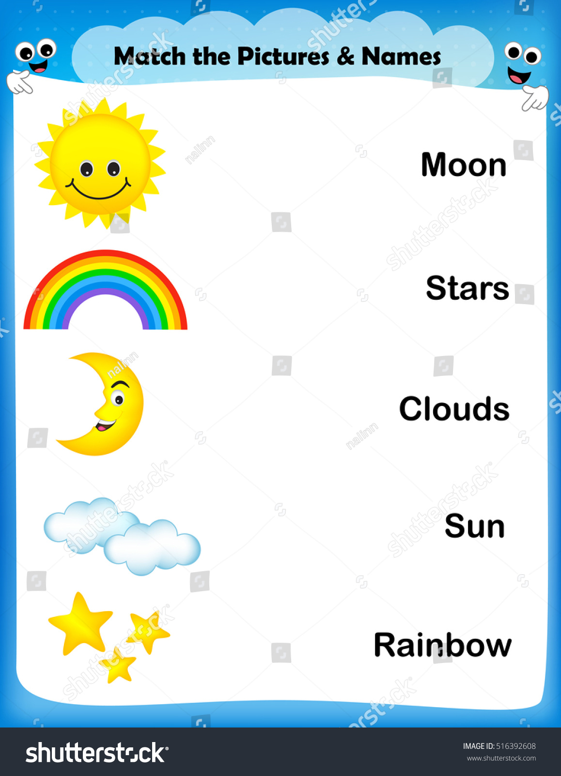 Worksheet Match Weather Images Text Worksheet Stock Vector