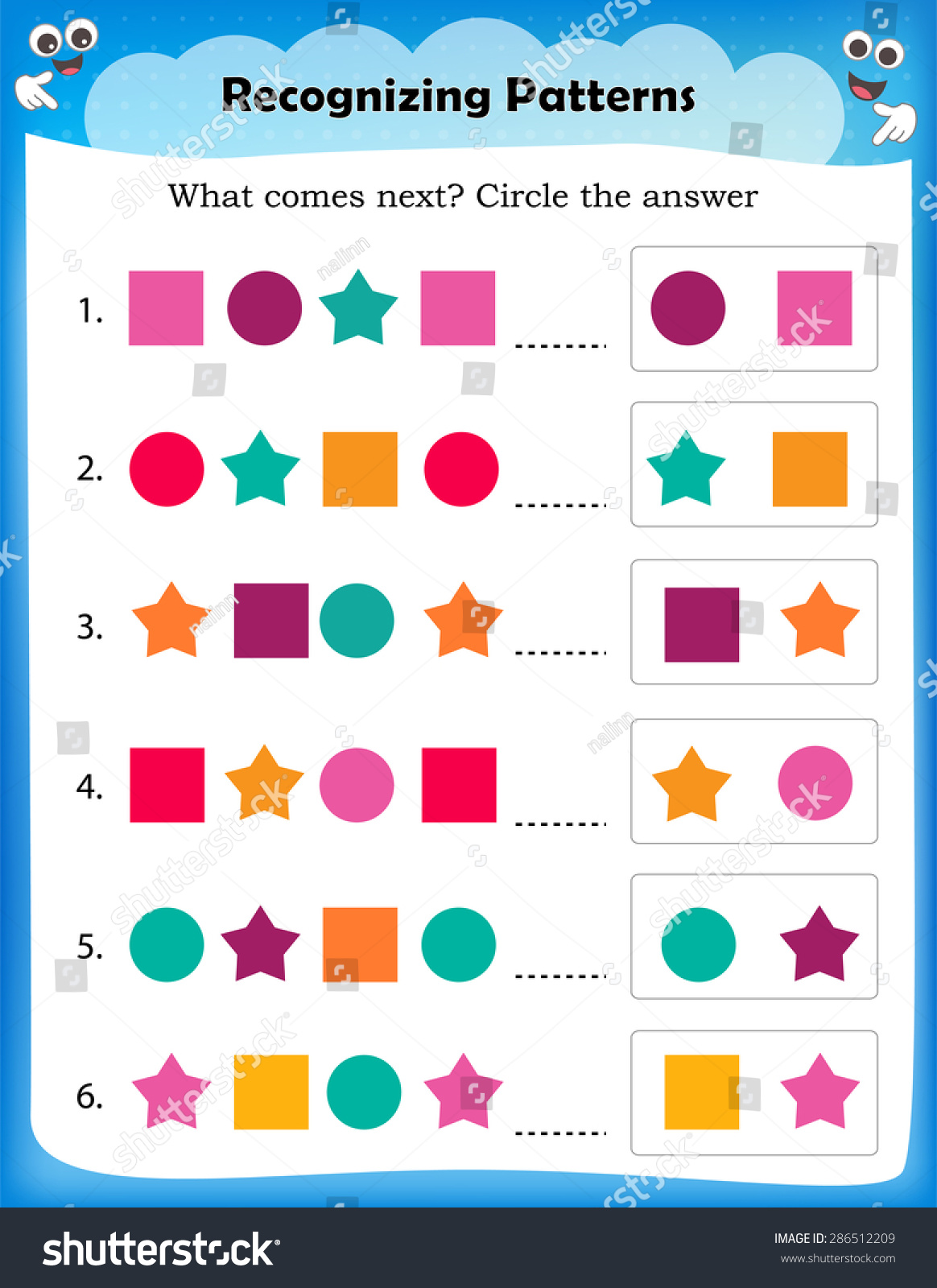 Worksheet Understanding Patterns Complete Pattern Correct