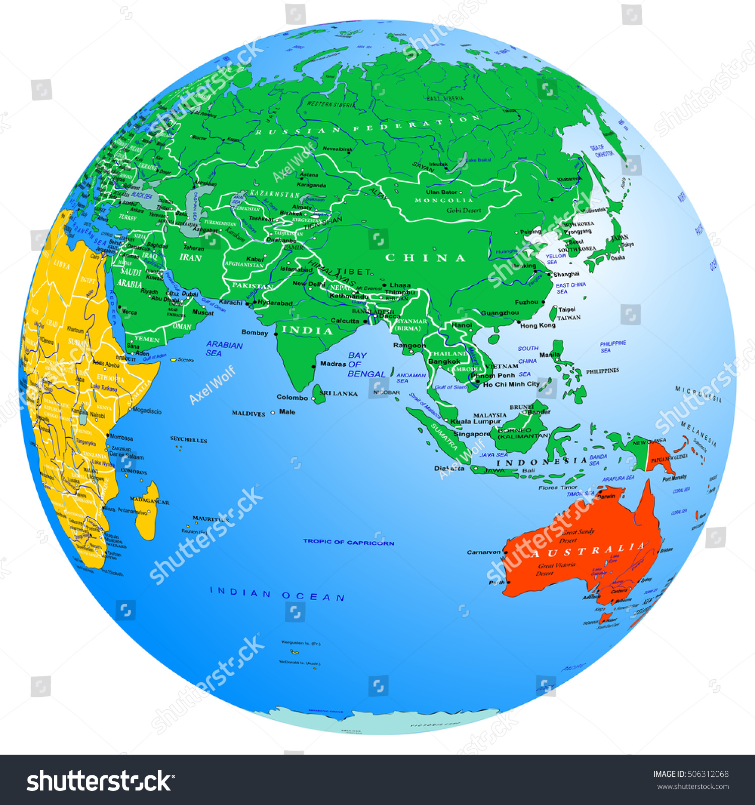 World Map Continents Countries Globe Planet Stock Vector