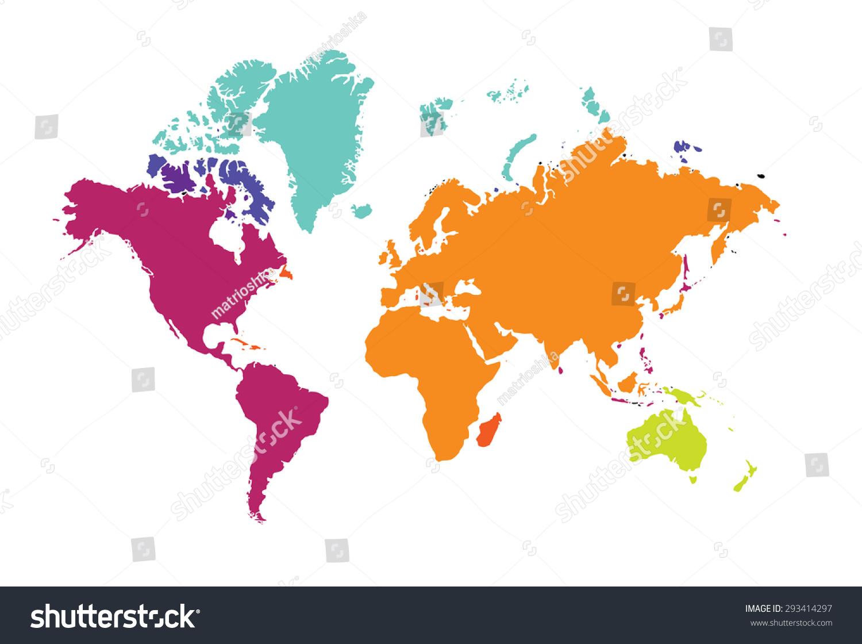World Map World Continents Europe Australia Stock Vector