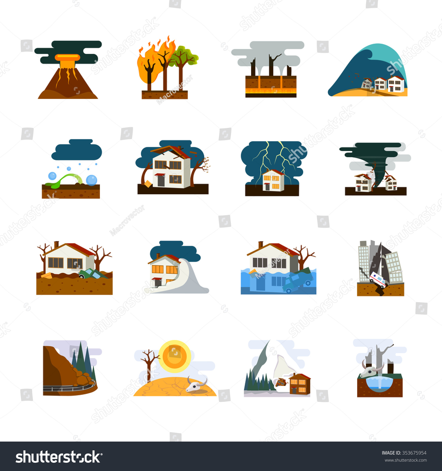 World Worst Natural Disasters Symbols Flat Stock Vector