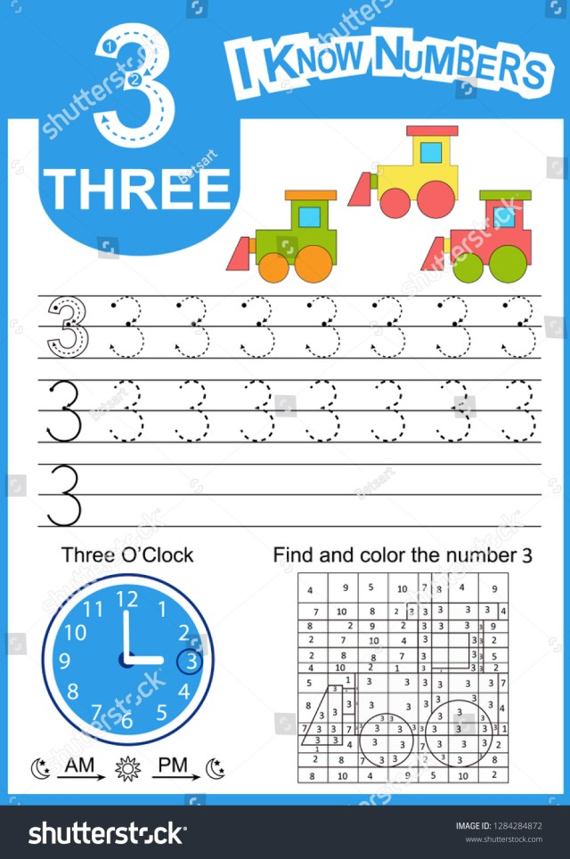 Write Numbers 23 Kids Learn Count Stock Vector (Royalty Free