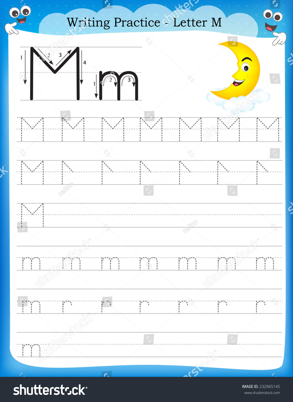 Writing Practice Letter M Printable Worksheet Stock Vector