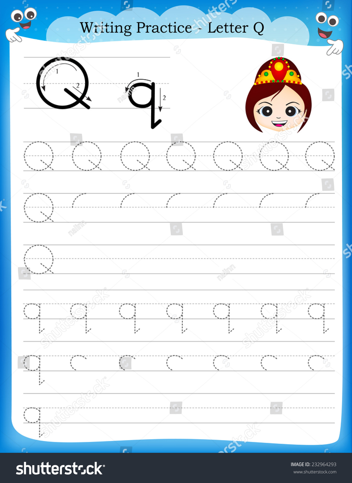 Writing Practice Letter Q Printable Worksheet With Clip Art For Preschool Kindergarten Kids To