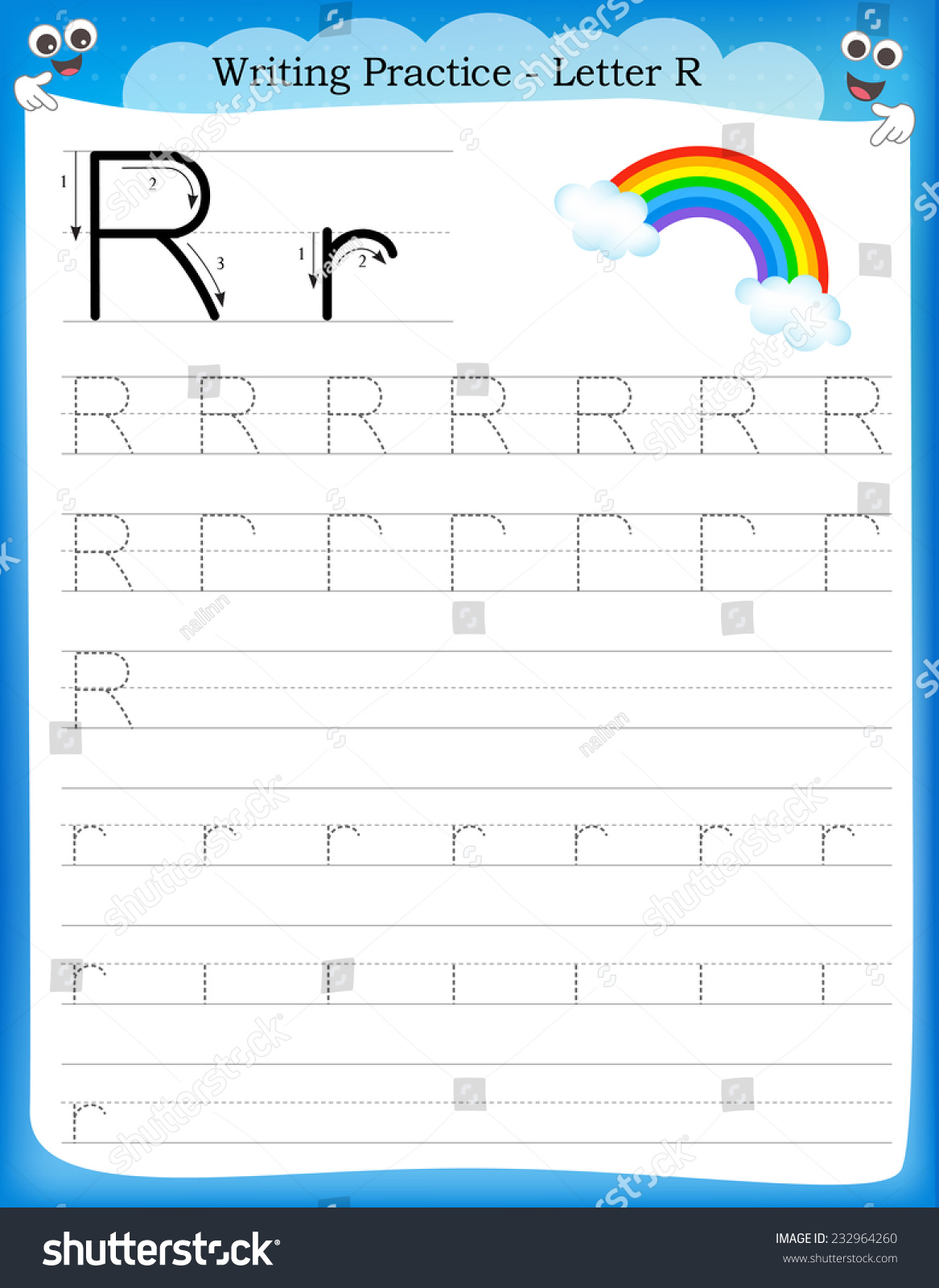 Writing Practice Letter R Printable Worksheet Stock Vector