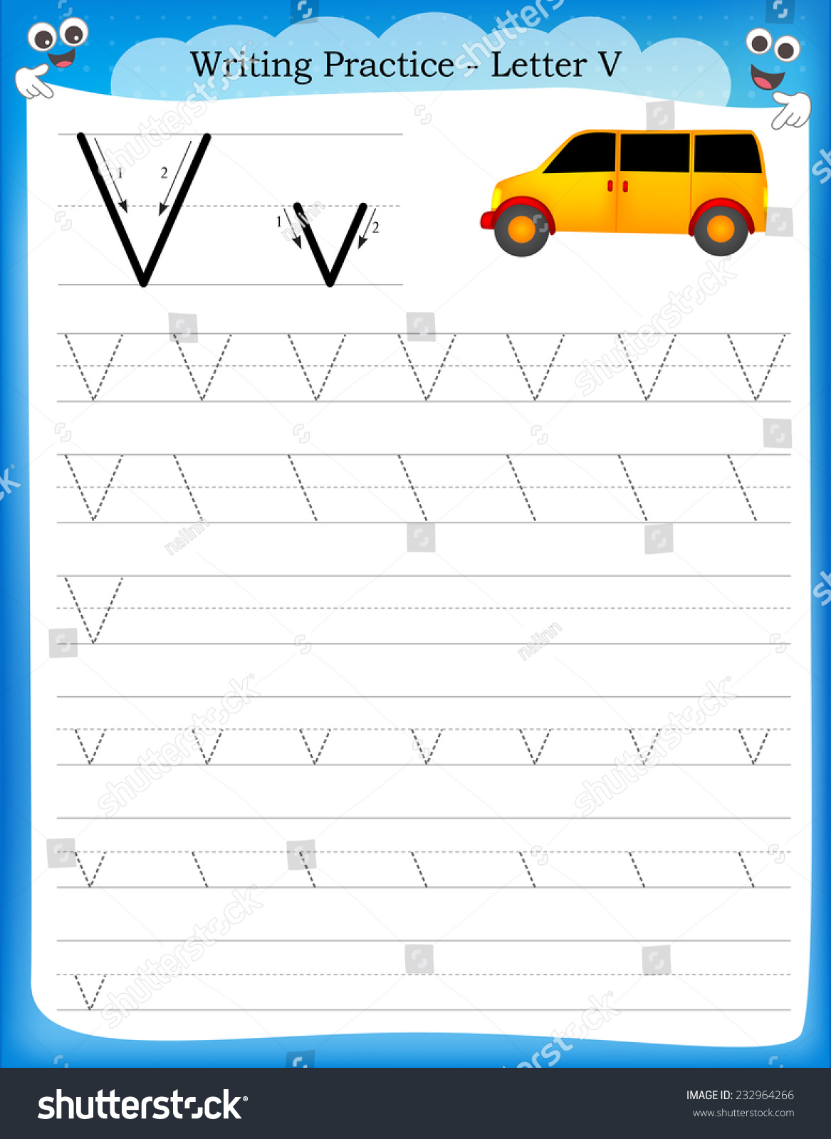 Writing Practice Letter V Printable Worksheet With Clip Art For Preschool Kindergarten Kids To