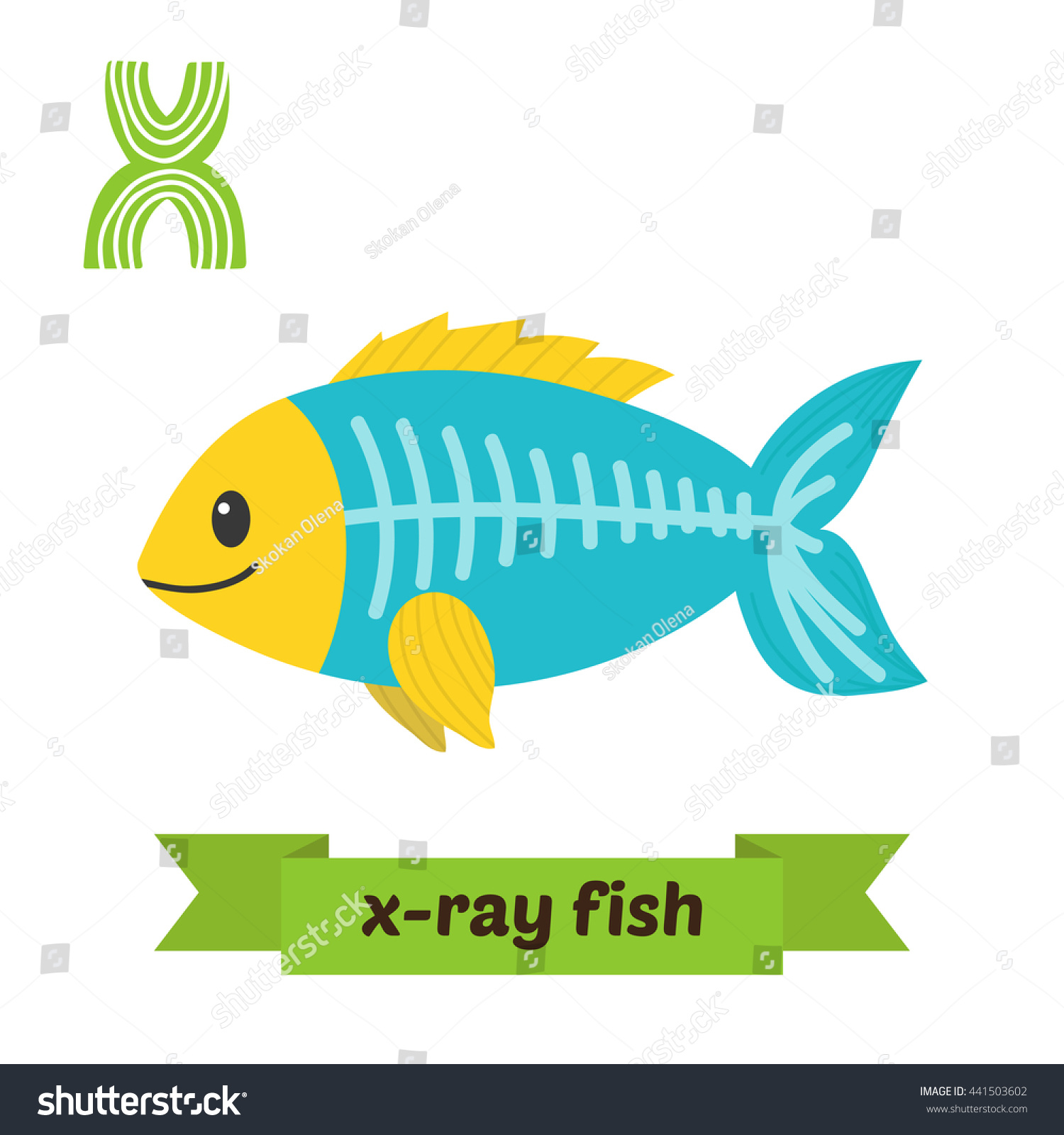 Xray Fish X Letter Cute Children Stock Vector