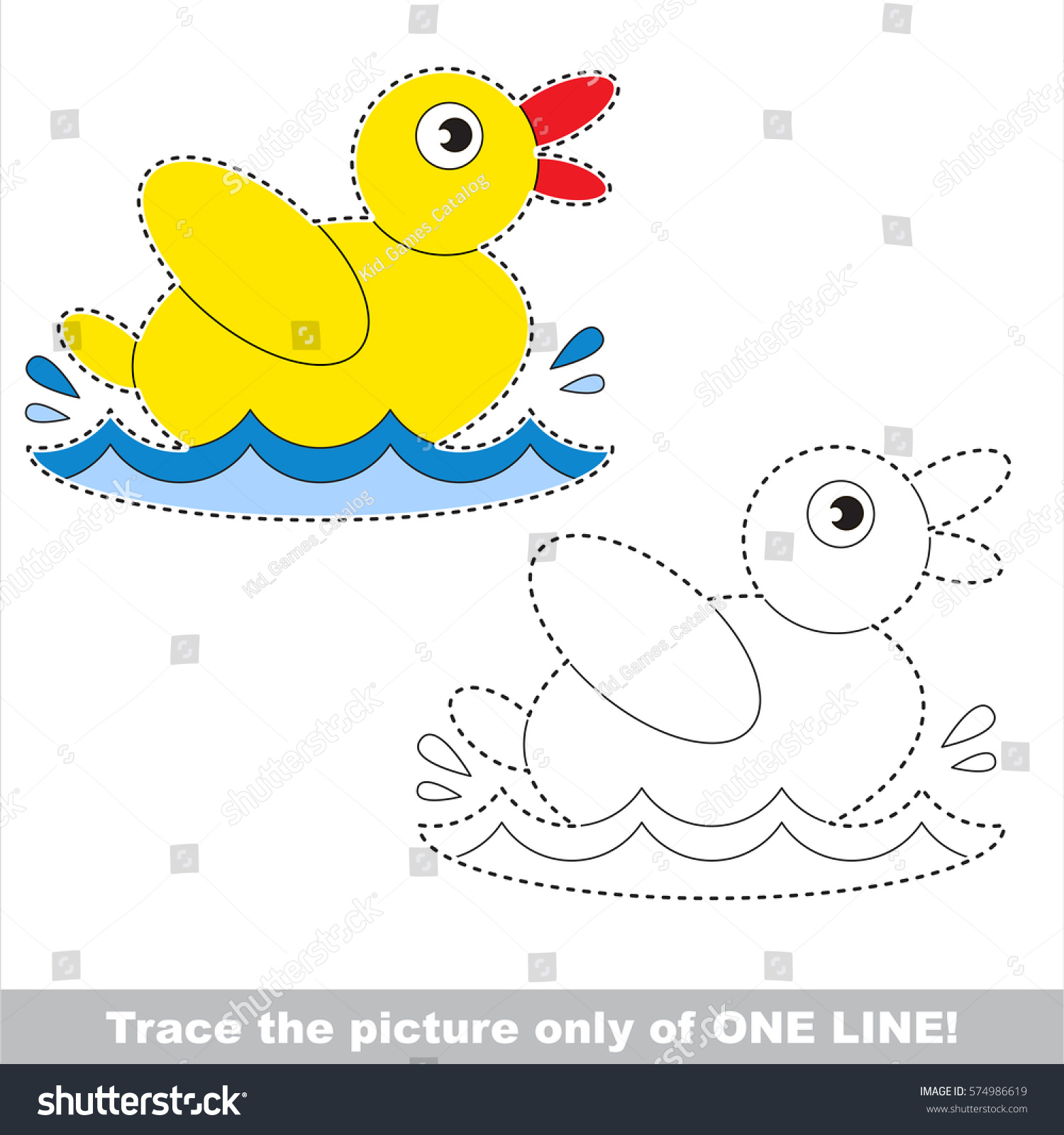 Yellow Duck Dot Dot Educational Game Stock Vector