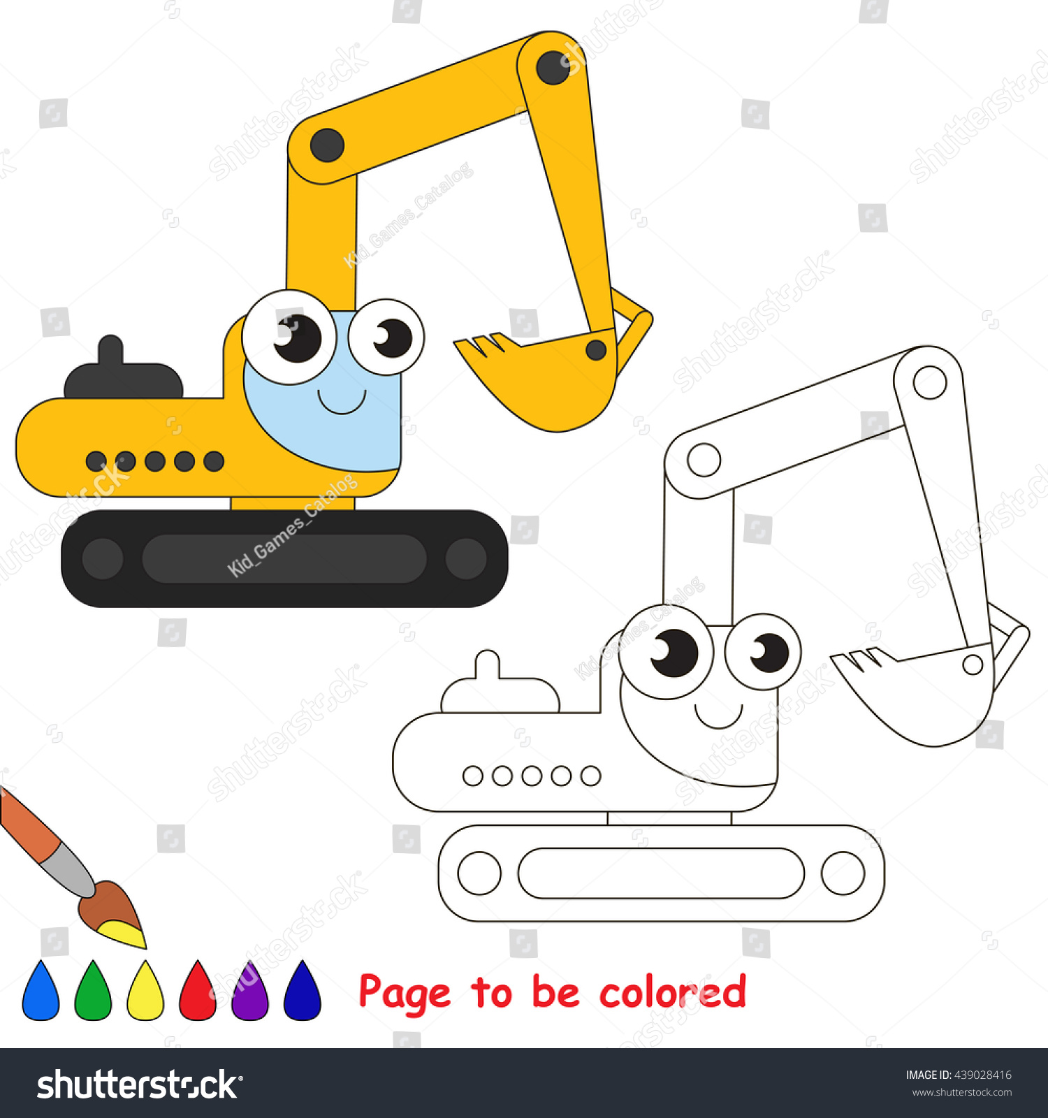 Yellow Excavator Be Colored Coloring Book Stock Vector