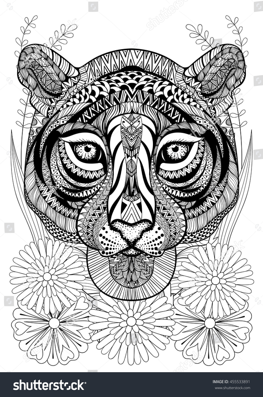 Zentangle Stylized Tiger Face On Flowers Stock Vector