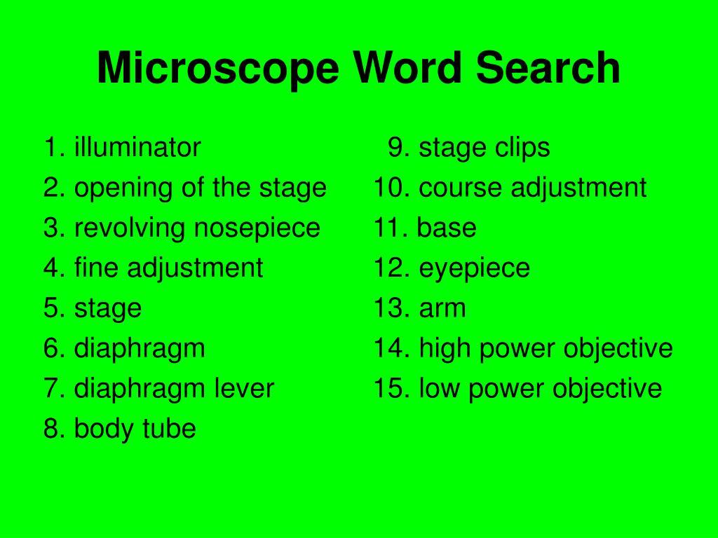 Microscope Word Search