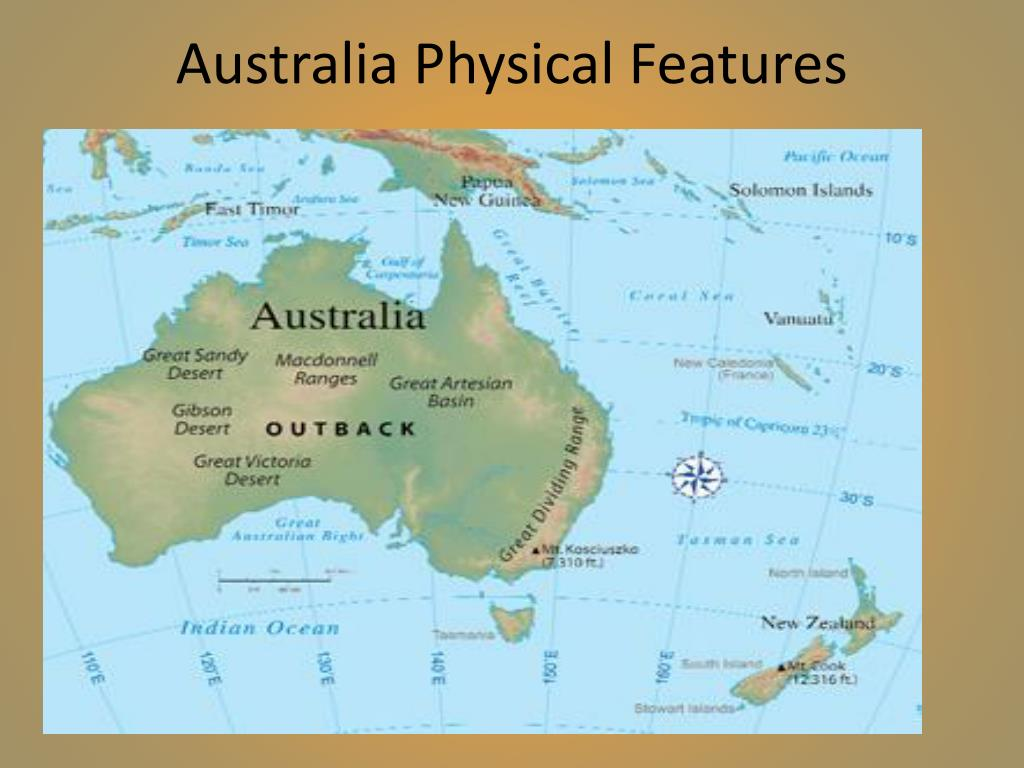 Physical Australia And Oceania Map