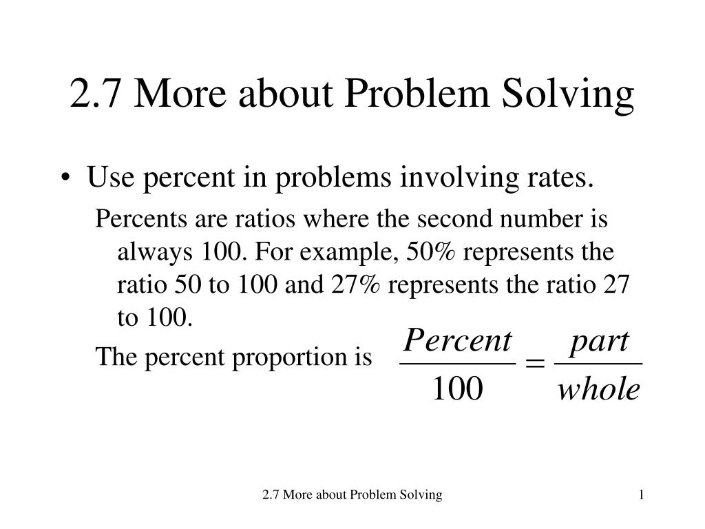 Problem Solving With Percents Problem Solving With