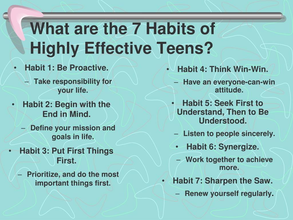 7 Habits Of Highly Effective Teens Worksheet