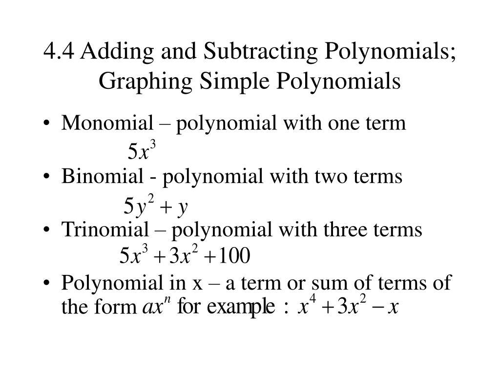 Simple Polynomial Worksheet