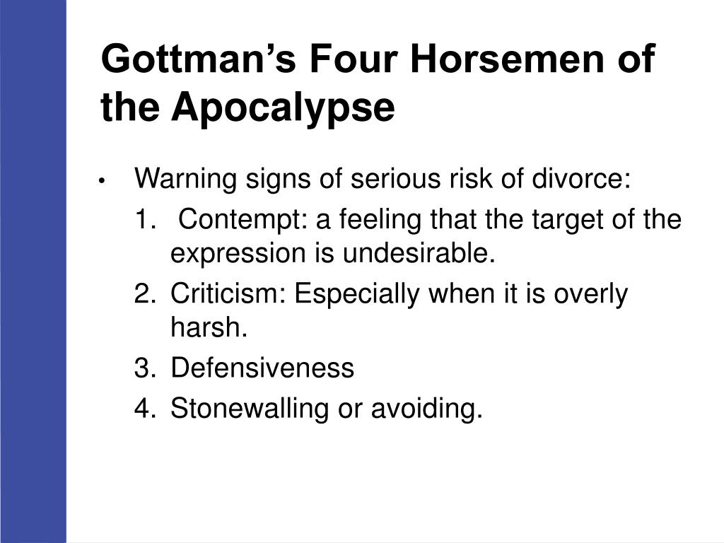 Gottman Four Horsemen Of The Apocalypse Pictures To Pin On