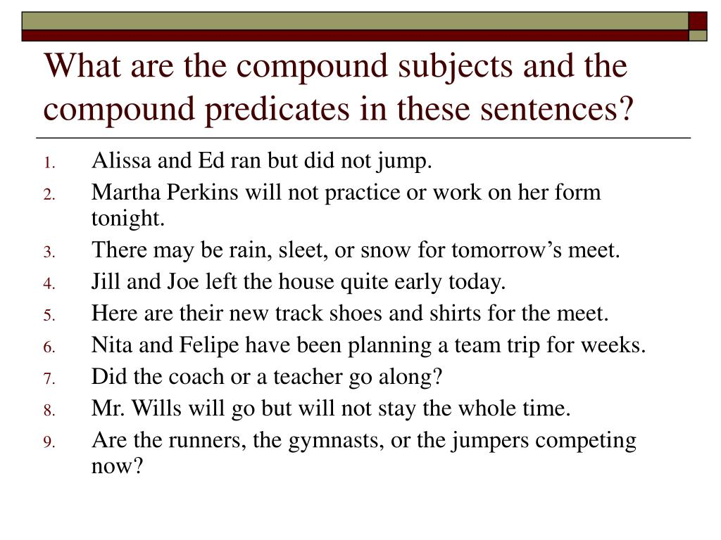 Worksheet Compound Subjects And Predicates Worksheets