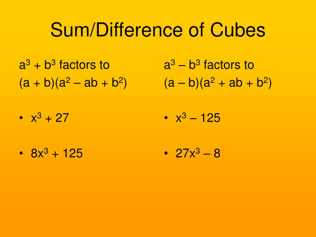Sum Difference Cubes