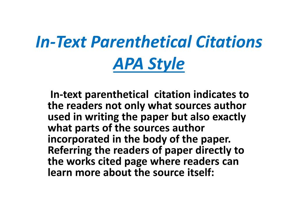 Parenthetical Citation With Page Number