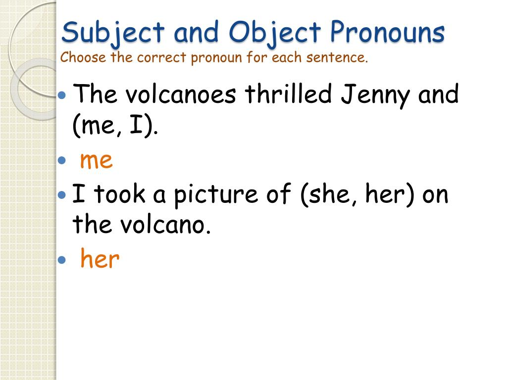 Subject And Object Pronoun Worksheet