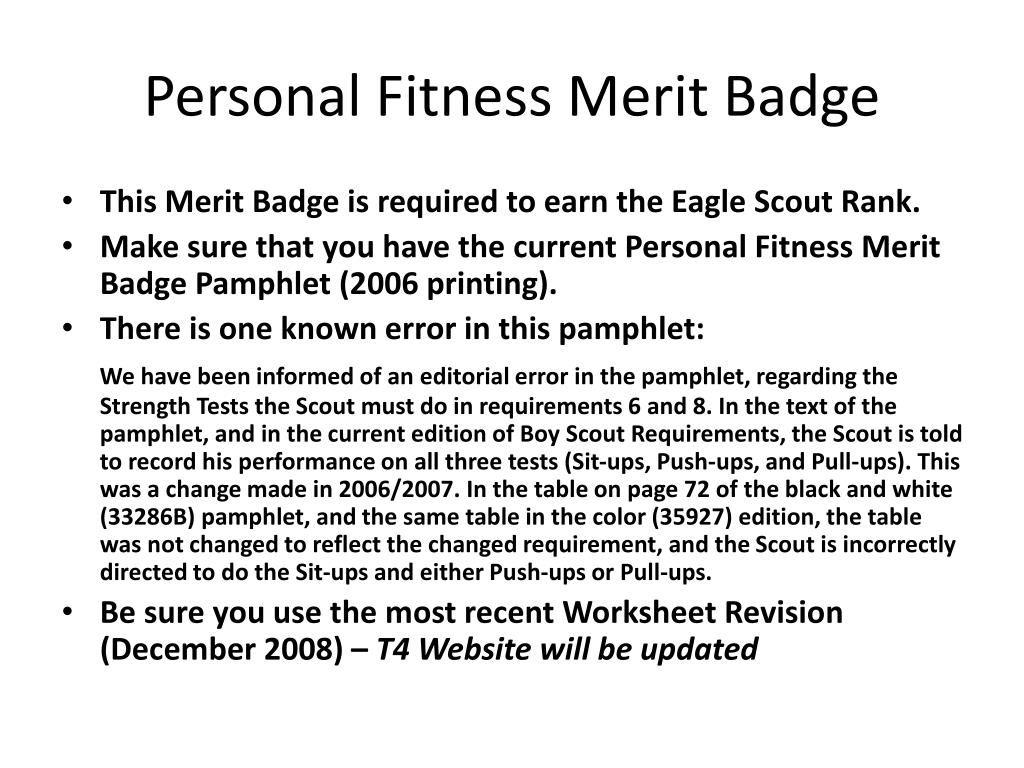 Personal Fitness Merit Badge Workbook