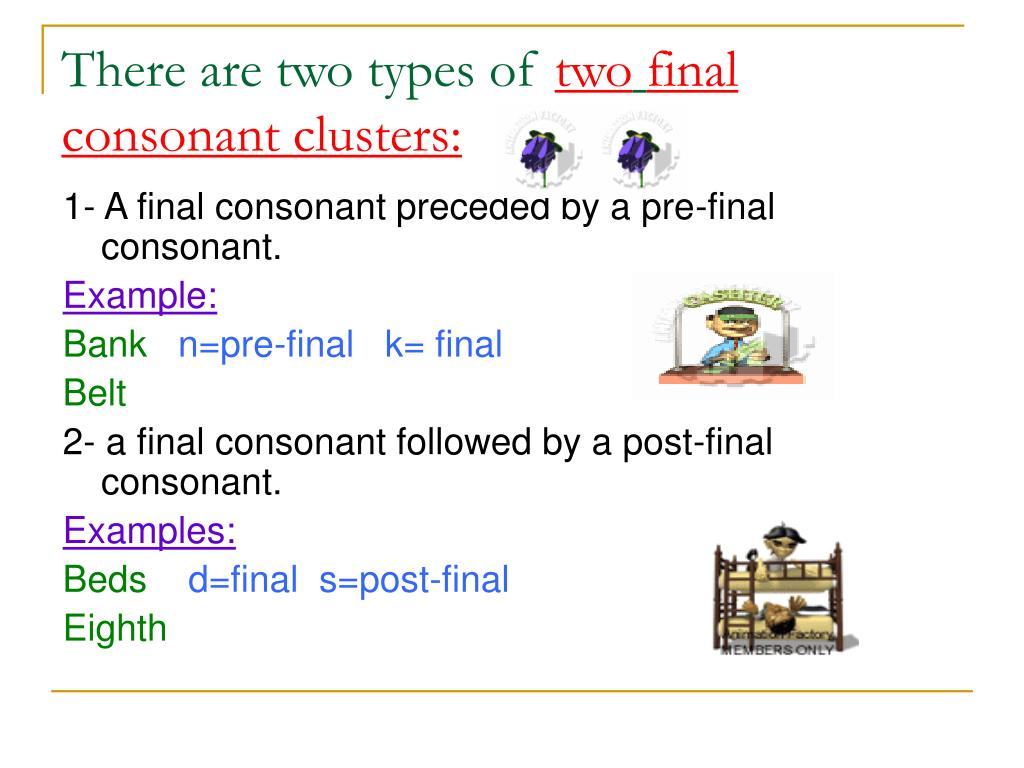 Consonant Clusters Examples
