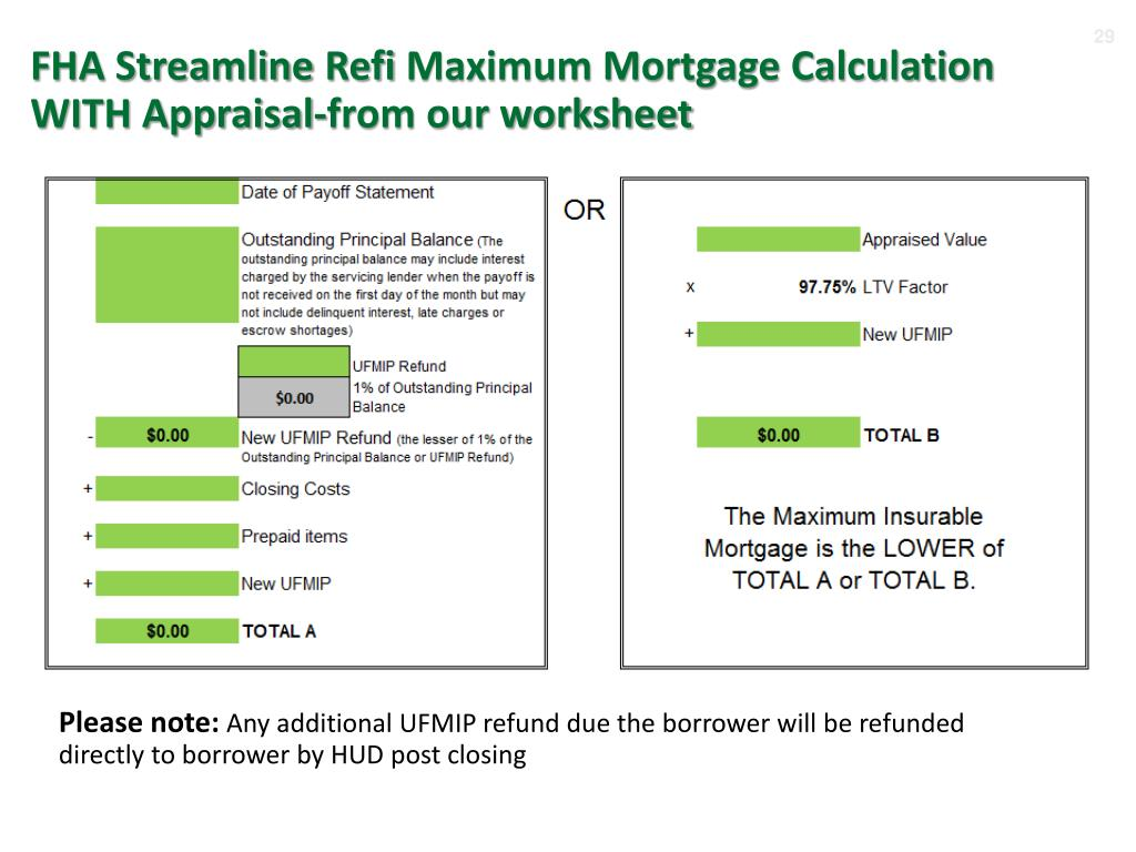 Fha Streamline Refinance Calculator Worksheet