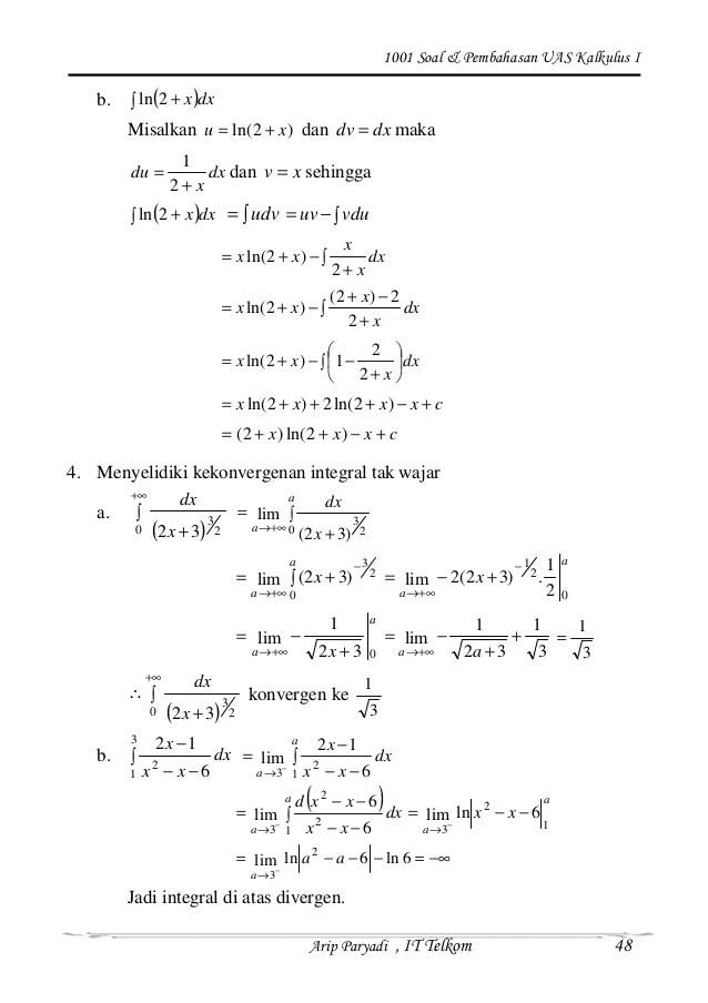 Menggunakan teorema dasar kalkulus ii untuk. Soal Dan Pembahasan Integral Kalkulus Kumpulan Contoh Surat Dan Soal Terlengkap