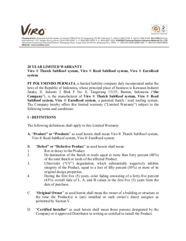 mechanical contractor warranty letter
