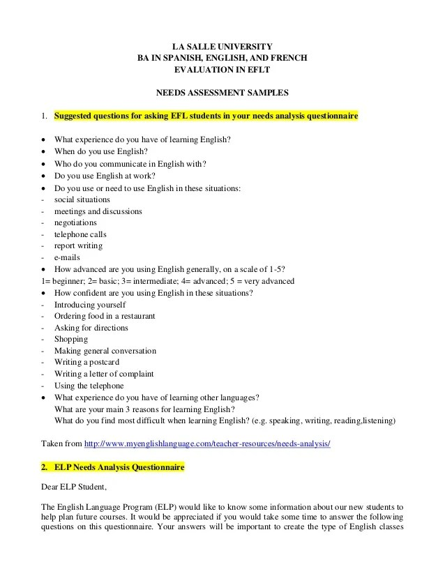 Needs Assessment Survey Template. questionnaire design template ...