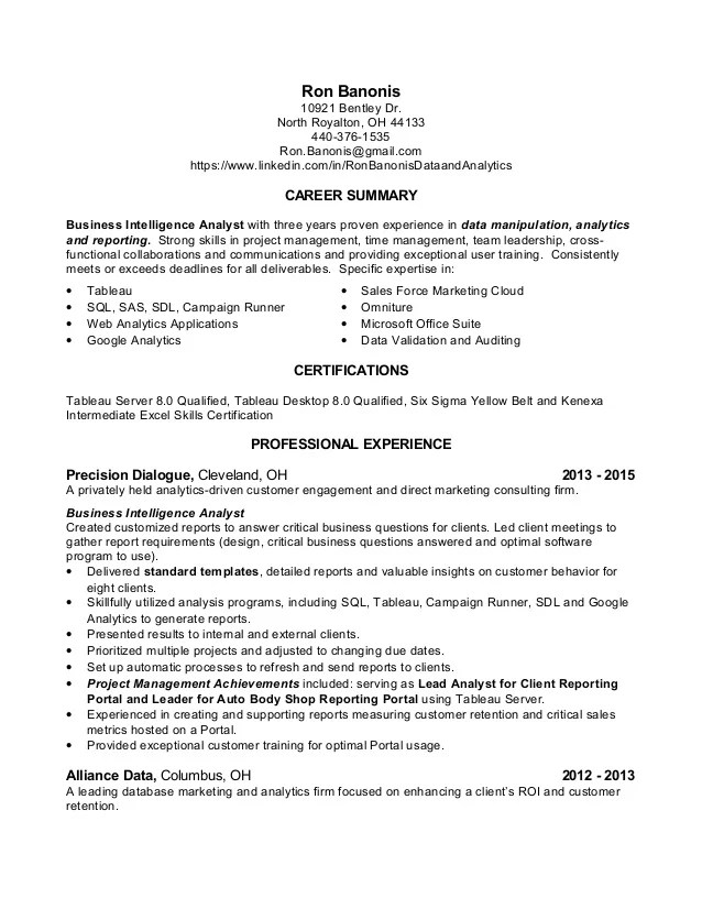Resume Data Analyst. Chronological Resume Sample Data Analyst