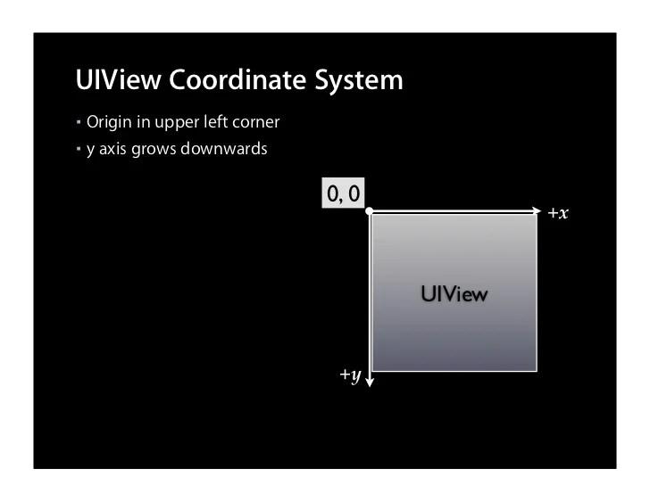 UIView Coordinate System   Origin in upper left corner ■  ■ y axis grows downwards                                  0,0...
