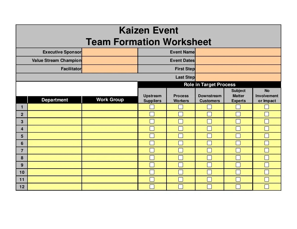 Kaizen Event Team Formation Worksheet