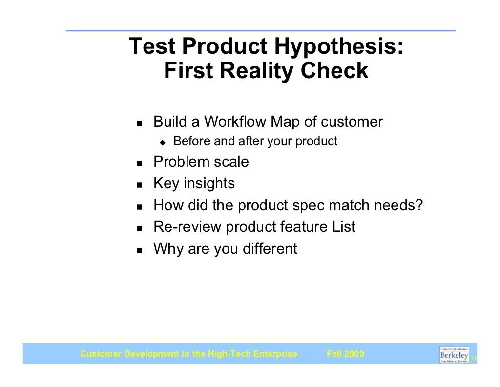 Test Product Hypothesis First Reality