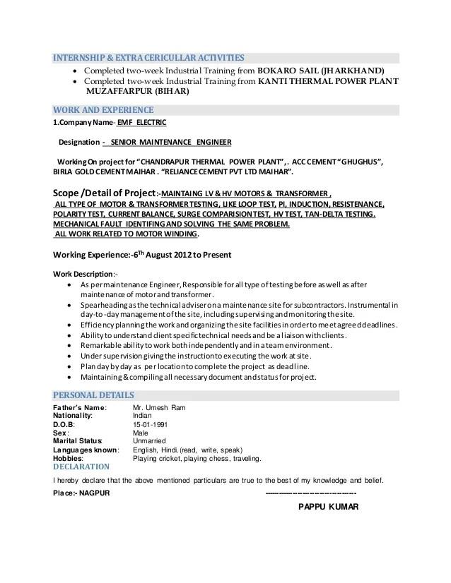 resume electrical amp electronics engineering