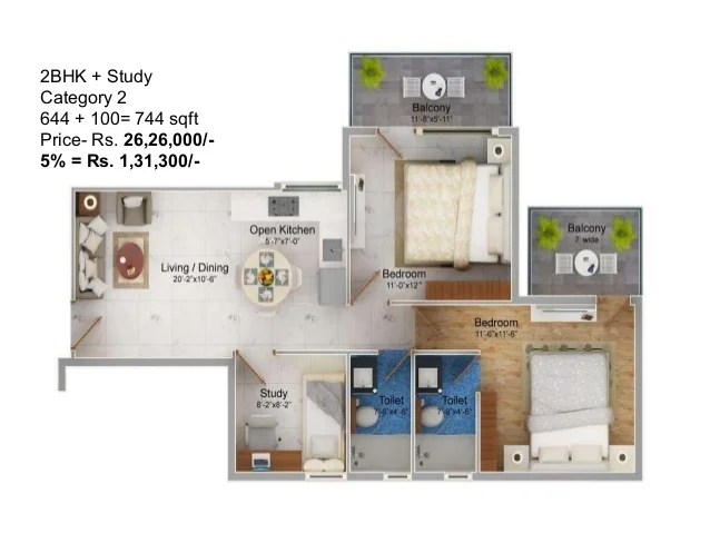 1BHK Category 2 307 + 69= 376 sqft Price- Rs. 12,62,500/- 5% = Rs. 63,125/-