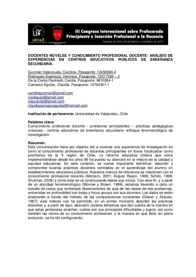 DOCENTES NOVELES Y CONOCIMIENTO PROFESIONAL DOCENTE