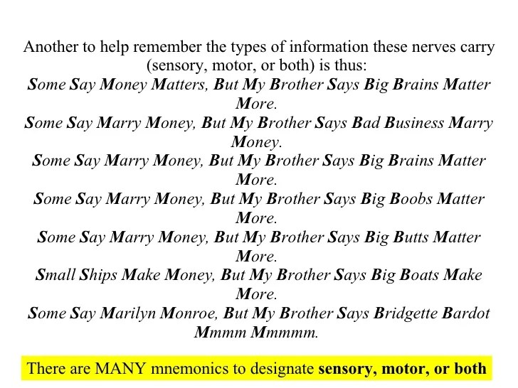 12 Pairs Cranial Nerves Mnemonic Some Say Marry Money