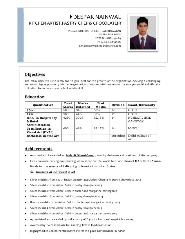 Pastry Chef Resume. chef resume examples entry level pastry chef ...