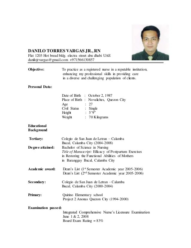 new-resume-danilo-updated-2015doc-1-638 One Page Resume Format For Internship Sample on