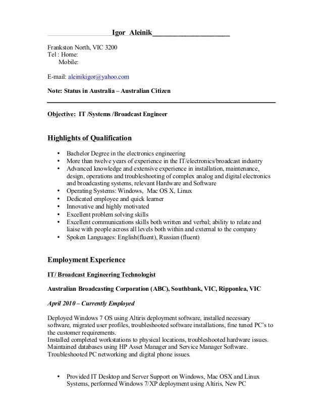resume broadcast it engineer assessment 3 naddr
