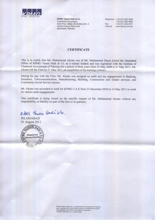 KPMG Experience Certificate