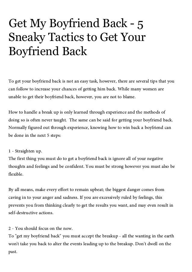 Get my boyfriend back, 5 sneaky tactics to get your boyfriend back