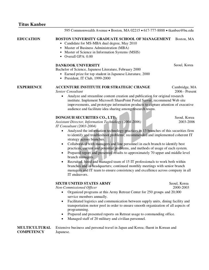 Resume for mba application samples