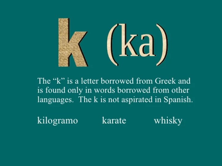 Spanish Words Starting With The Letter K Poemsview