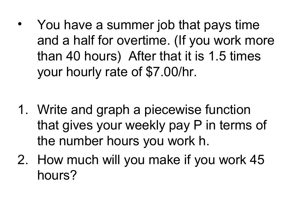 Writing Piecewise Functions Amp Word Problems