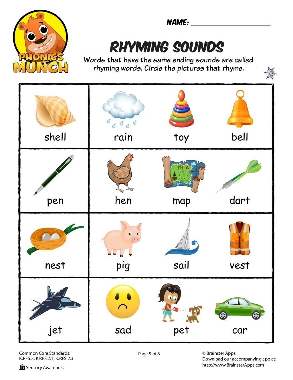 Rhyming Sounds Worksheet