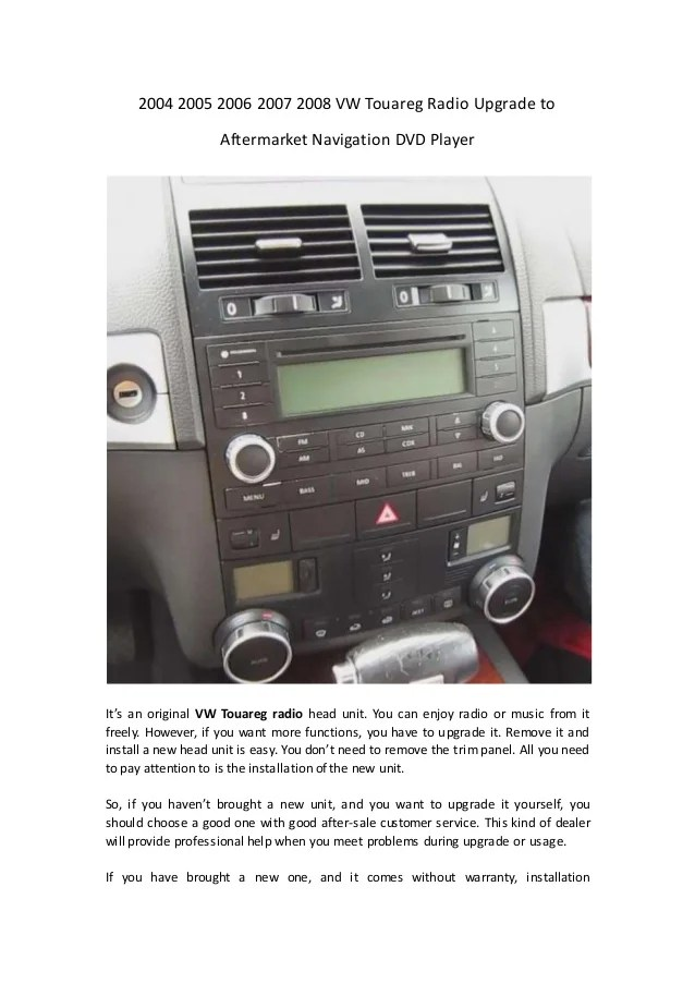 2004 2005 2006 2007 2008 vw touareg radio upgrade to aftermarket navi…