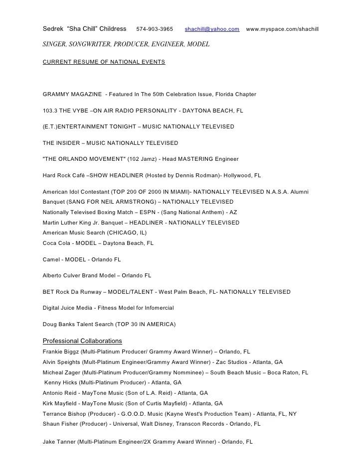 Sample Resume Music Industry. Music Musician Resume Template Music